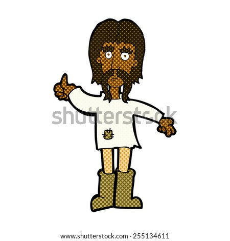 retro comic book style cartoon hippie man giving thumbs up symbol - stock vector