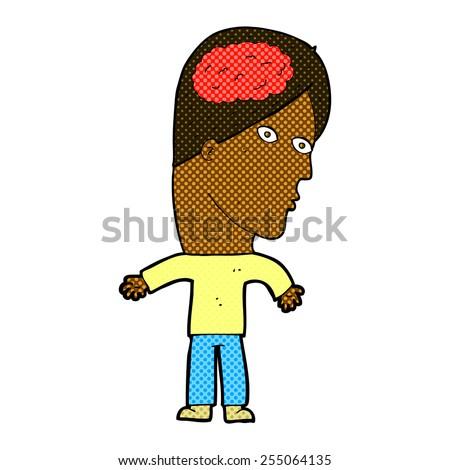 retro comic book style cartoon man with brain symbol - stock vector