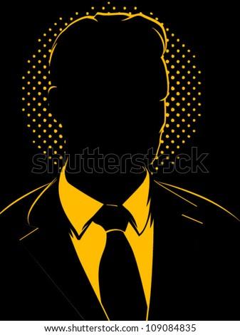 Retro Comic Business Man Silhouette - stock vector