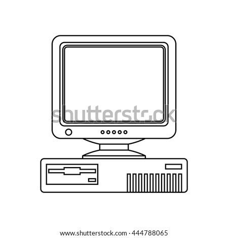 Retro Computer icon with CRT Monitor. Outline version