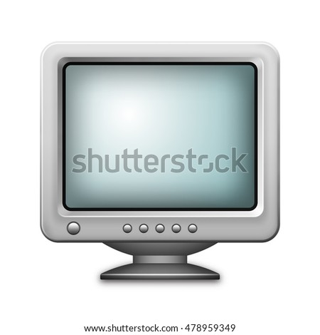 Retro computer monitor icon isolated on white background. Realistic vector illustration