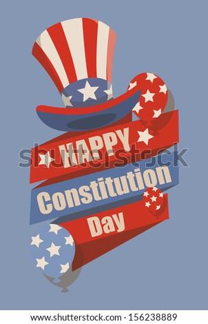 Retro - Constitution Day Vector Illustration - stock vector