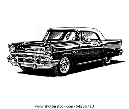 Retro Convertible - Clipart Illustration - stock vector