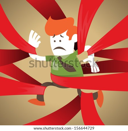 Retro Corporate Guy is caught up in Red Tape. Vector illustration of Retro Corporate Guy clearly very distressed with the bureaucratic red tape that he's got caught up in. - stock vector