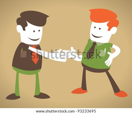 Retro Corporate Guys enjoy a handshake. - stock vector