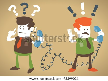 Retro Corporate Guys have a heated debate on the telephone. - stock vector