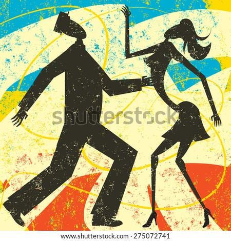 Retro couple dancing