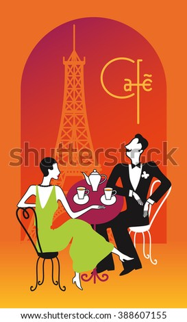 Retro couple drinking tea, coffee in a restaurant on the balcony and looking at the Eiffel Tower, Paris. Vector illustration in art deco style. - stock vector