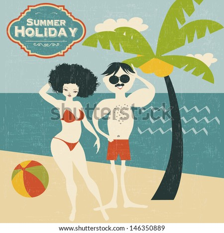 retro couple on the beach, vector illustration - stock vector
