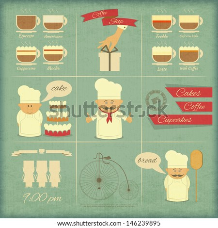 Retro Cover Menu for Bakery in Vintage Style with Types of Coffee Drinks and Graphics Icons. Vector Illustration.  - stock vector