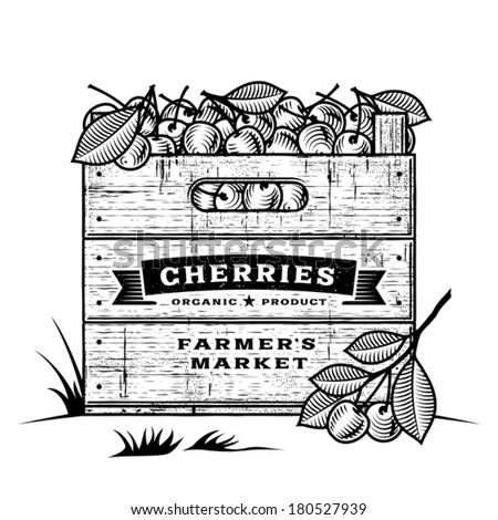 Retro crate of cherries black and white - stock vector