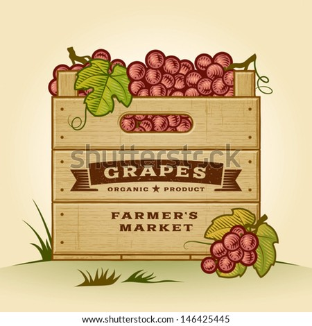 Retro crate of grapes. Editable EPS10 vector illustration with clipping mask and transparency. - stock vector