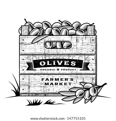 Retro crate of olives black and white. Editable vector illustration with clipping mask. - stock vector