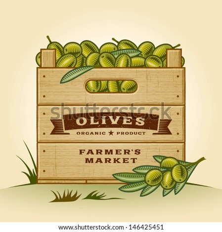 Retro crate of olives. Editable EPS10 vector illustration with clipping mask and transparency. - stock vector