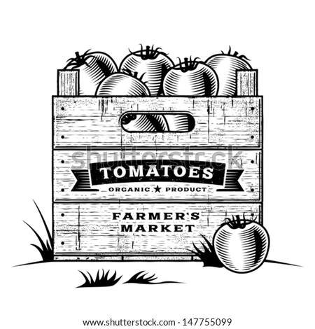 Retro crate of tomatoes black and white. Editable vector illustration with clipping mask. - stock vector