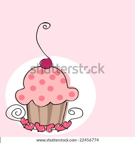 retro cupcake - stock vector