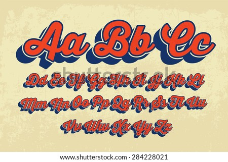 retro cursive typography vector - stock vector