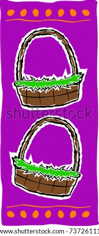 Retro Cute Easter Baskets with Egg Border Design Vector Illustration - stock vector