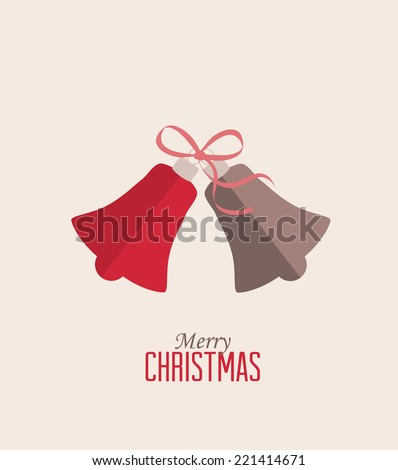 Retro decorative Christmas bells, vector Christmas card - stock vector