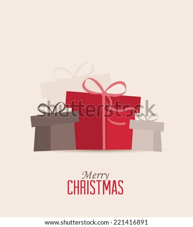 Retro decorative Christmas presents, vector Christmas card - stock vector