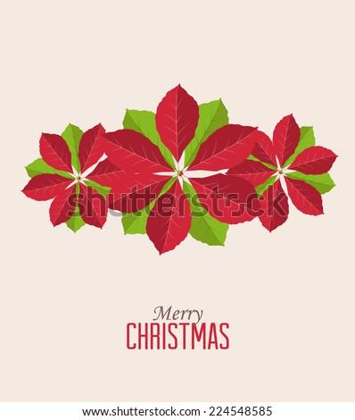 Retro decorative poinsettia flower, vector Christmas card - stock vector