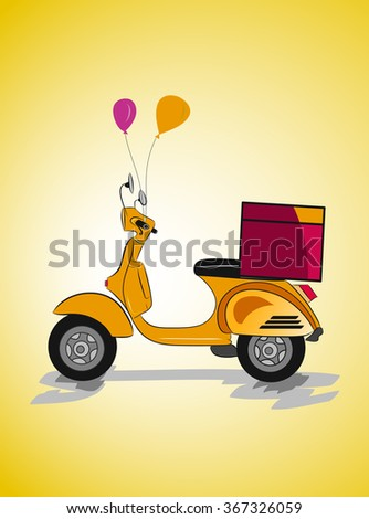 Retro delivery scooter vector illustration