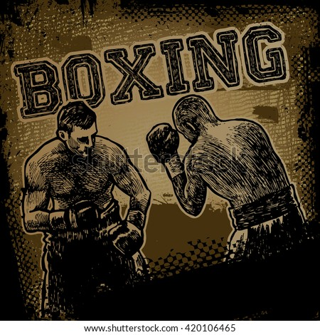 "Retro design ""Boxing"" for poster with boxer, fonts and textures. vector illustration."