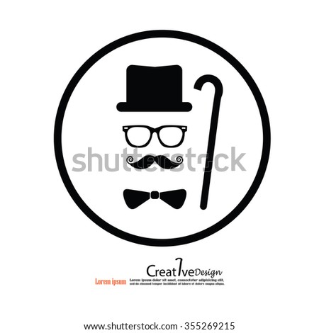 retro design elements, hats, mustaches,tie ,walking stick and glasses.vector illustration. - stock vector