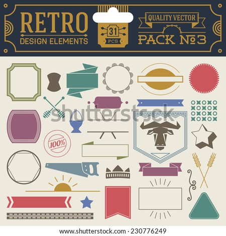 Retro design elements hipster style infographic color set 3. Labels, ribbons, icons, frames, borders etc. High quality vector illustration. - stock vector