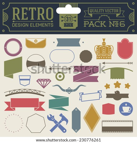 Retro design elements hipster style infographic color set 6. Labels, ribbons, icons, frames, borders etc. High quality vector illustration. - stock vector