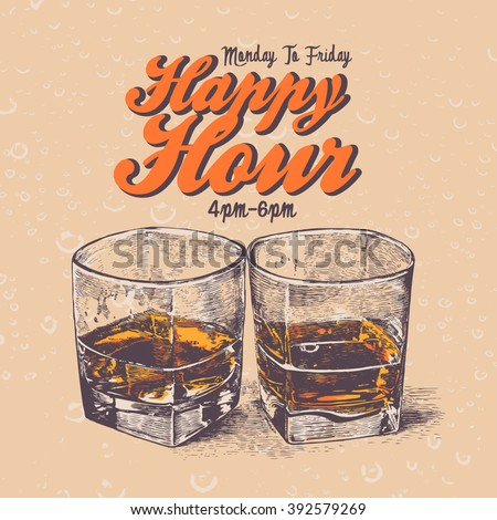 Retro design Happy Hour drink with whiskey in two glasses. typographical background. vector illustration.
