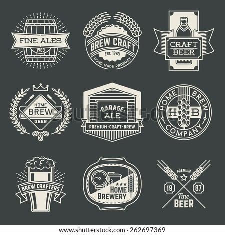 Retro design insignias line art logotypes home brewery set 1. Vector high quality vintage elements. - stock vector