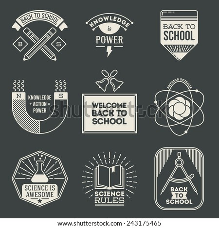Retro design insignias logotypes school and science set. Vector vintage elements. - stock vector