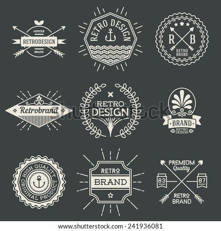 Retro design insignias logotypes set 1. Vector vintage elements. - stock vector
