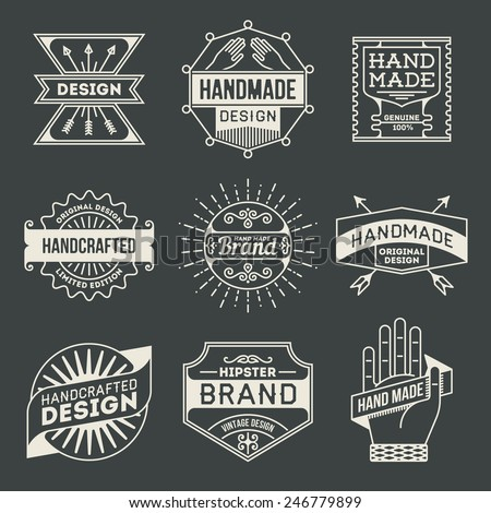 Retro design insignias logotypes set 10. Vector vintage elements. - stock vector