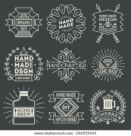 Retro design insignias logotypes set 11. Vector vintage elements. - stock vector