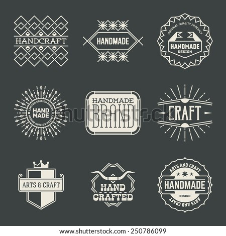 Retro design insignias logotypes set 16. Vector vintage elements. - stock vector