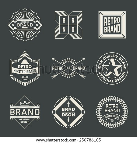 Retro design insignias logotypes set 14. Vector vintage elements. - stock vector