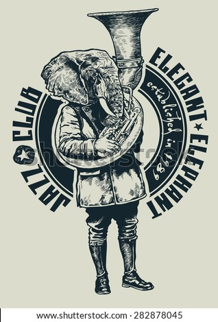 """Retro design """"Jazz Club Elegant Elephant"""" for poster or t-shirt print with elephant trumpeter, fonts and textures. vector illustration. grunge effect in separate layer. - stock vector"""