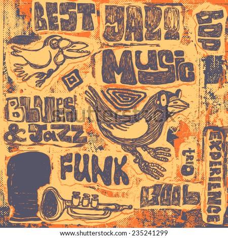 "Retro design ""Jazz music"". vector illustration. - stock vector"