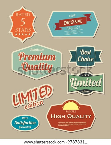 Retro design label set - stock vector