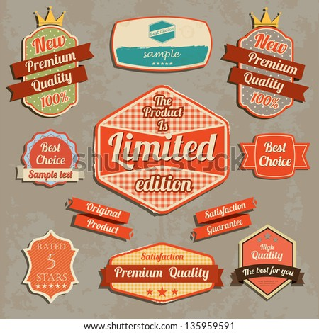 Retro design label set. Vector illustration - stock vector
