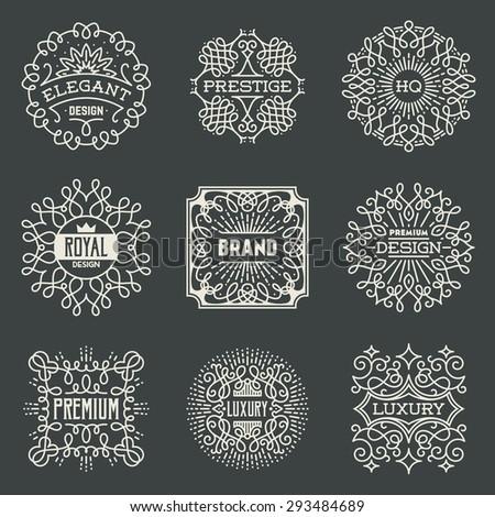 Retro Design Luxury Insignias Logotypes Template Set. Line Art Vector Vintage Style Elements. Elegant Geometric Shiny Floral Frames. - stock vector