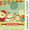 Retro design of Christmas card. Santa Claus, snowman and hare on a Vintage background. Vector illustration. - stock photo