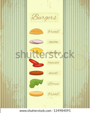 Retro Design of Fast Food Menu, Big Burger with Ingredients on Vintage Background. Vector Illustration. - stock vector