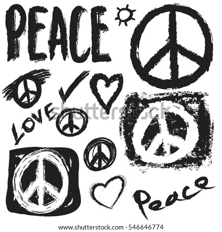 Retro Design Peace Love Music Vector