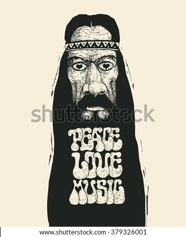 Retro design of Peace, Love and Music with old hippie and hand-written fonts. vector illustration.