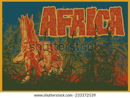 """Retro design poster """"Africa"""" with girl in ethnic mask and silhouette cane. vector illustration. - stock vector"""