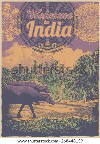 Retro design poster Welcome to India with cows, palms trees and vintage fonts. engraving style. vector illustration - stock vector