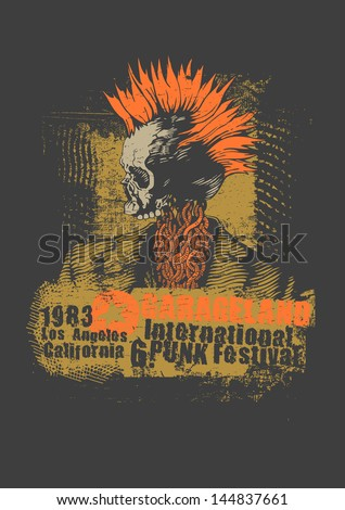 Retro design Punk festival for t-shirt print, with punk skull, grunge fonts and textures. vector illustration. - stock vector